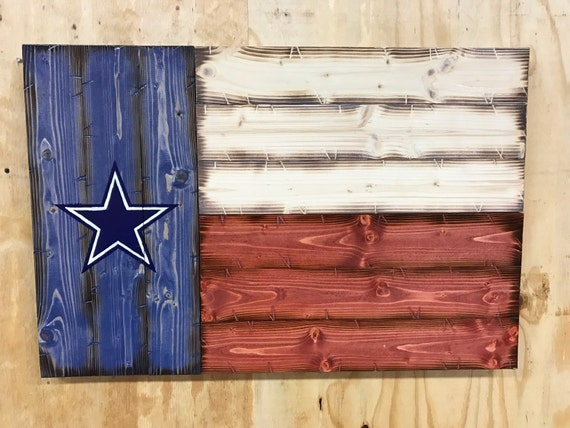 Handmade Wooden Dallas Cowboys Texas Flag | Rustic Texas Flag | Man Cave Decor | Dallas Cowboys Fan Gift | Wooden Dallas Cowboys Decor