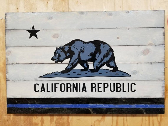Thin Line Wooden Rustic-Style California Flag