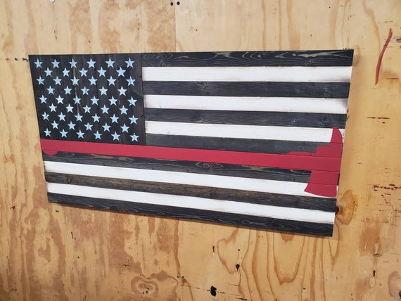 Wooden Rustic-Style Thin Red Line American Flag w/Firefighter's Axe