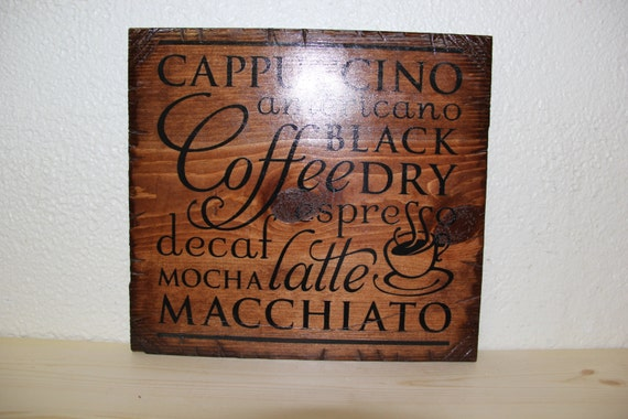 Coffee Wooden Rustic-style Sign (English Chestnut)