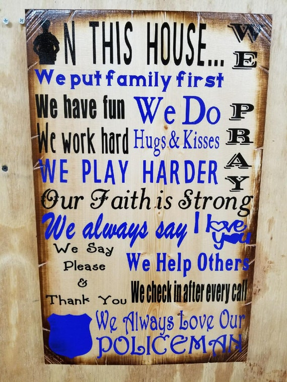 In This House Police Sign | Gift for Police Officer | Police Home Decor | Police Gift For Him | Police Gift For Her | Thin Blue Line Sign