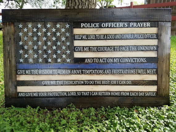 Police Officer's Prayer Thin Blue Line Flag
