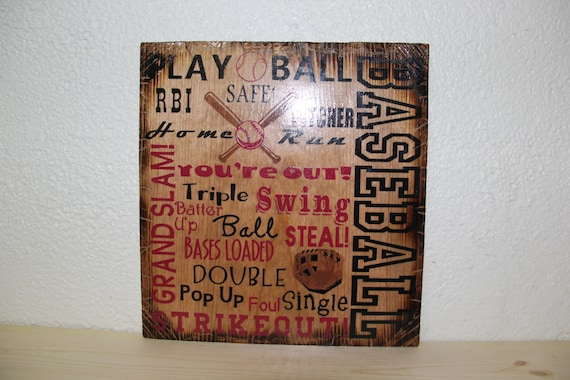 Wooden Rustic-Style Baseball Sign