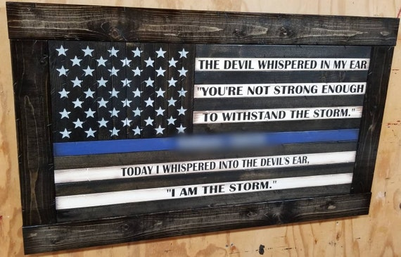 """Framed Wooden Rustic Style American Flag w/ """"I AM THE STORM"""" Quote (26""""x44"""")"""