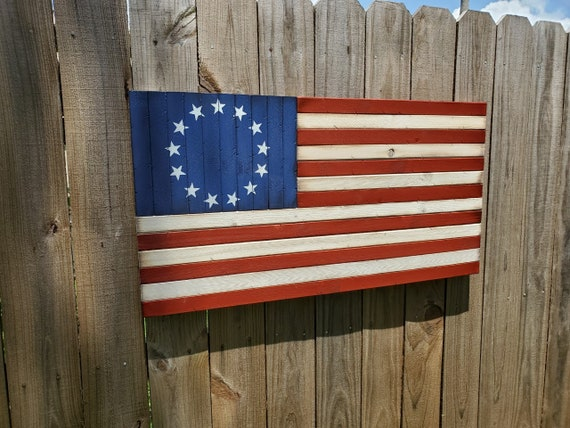 Wooden Rustic-Style Betsy Ross American Flag