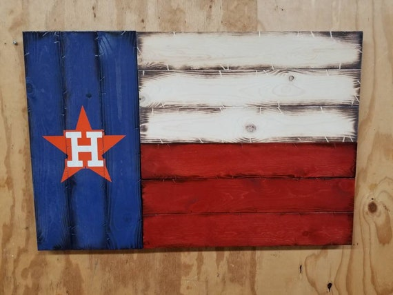 Rustic Wooden Houston Astros Texas Flag