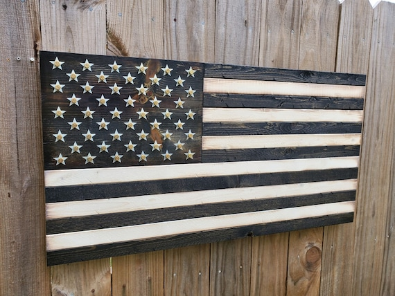 Black and White Wooden American Flag with Shell Casings | Bullet Flag | Military Flag | Man Cave Decor | Gift for Husband | Gift for Veteran
