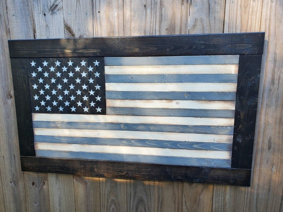 Wooden Rustic Subdued Grayscale American Flag w/ Ebony Frame | Military Flag | Gift for Military | Wooden American Flag
