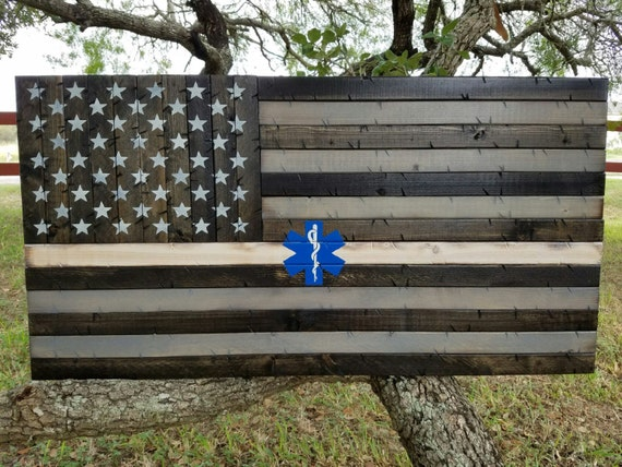 Thin White Line EMS Wooden Rustic American Flag with the star of life