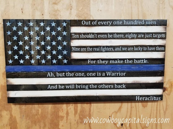 """Wooden Rustic-style American Flag w/ Heraclitus quote """"Out of every one hundred men..."""""""