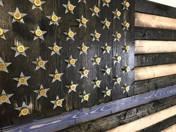 Thin Line American Flag With Bullet Casings in Stars | Bullet Flag | Shell Casings Flag | Thin Blue Line Flag | Gift for Police