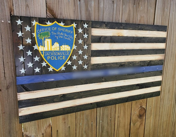 Thin Blue Line Rustic American Flag with Painted Jacksonville Sheriff's Office Patch