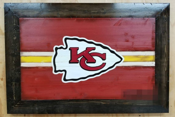 Kansas City Chiefs Sign | Wooden Rustic Style Chiefs Wall Hanging | Kansas City Chiefs Man Cave Decor