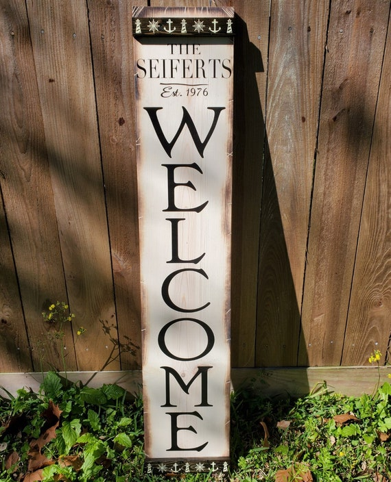 Porch Welcome Sign | Vertical Wooden Sign | Personalized Welcome Sign | Customizable Welcome Sign | White w/ Black Letter | Nautical Decor