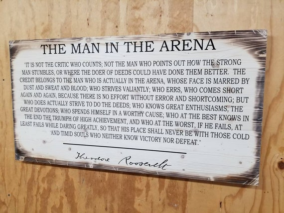 "Wooden Rustic-Style ""Man in the Arena"" Sign (20""x38"")"