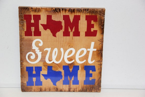 "12""x12"" Home Sweet Home Texas Sign"