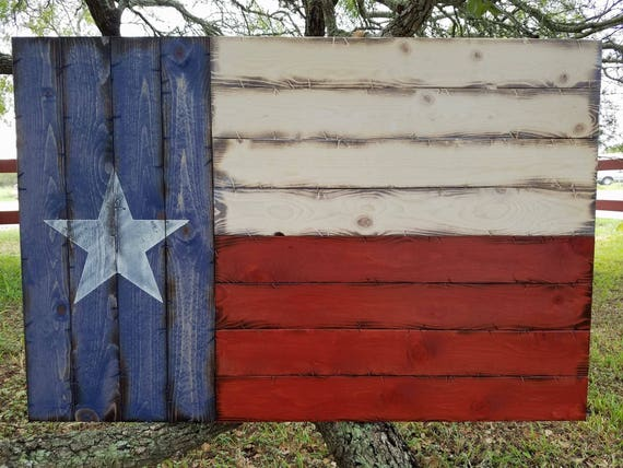 "Rustic Wooden Texas Flag 28""x42"""