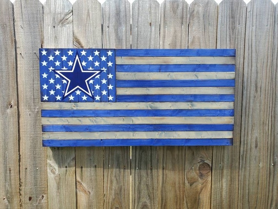Dallas Cowboys Wooden American Flag   Man Cave Decor   Gift for Him   Football Wall Hanging   Rustic American Flag
