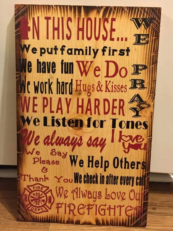 In This House Fireman Sign | Gift for Firefighter | Firefighter Home Decor | Thin Red Line Sign | First Responder Gift | Housewarming Gift