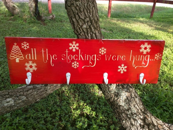 All The Stockings Were Hung Stocking Holder | Christmas Decor | Stocking Holder | Wooden Christmas Sign