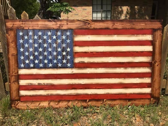 Deluxe Rustic-Style Wooden American Flag w/ Frame