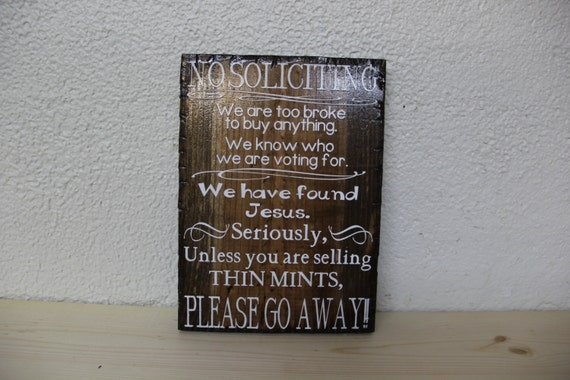 "No Soliciting Wooden Rustic-Style Sign 8""x10"""