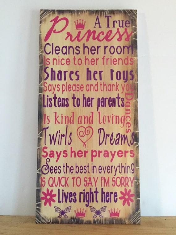 """A True Princess Wooden Sign 12""""x24"""""""