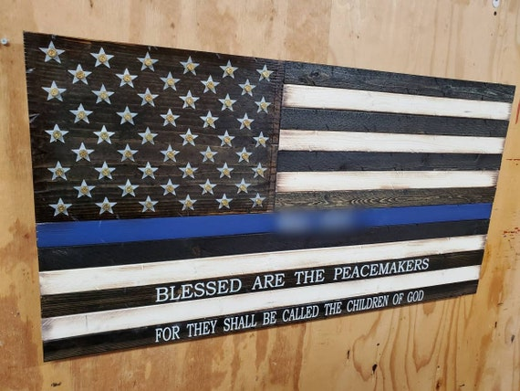 Wooden Rustic-Style Thin Line American Flag w/ Matthew 5:9 Verse and Shell Casings in Stars