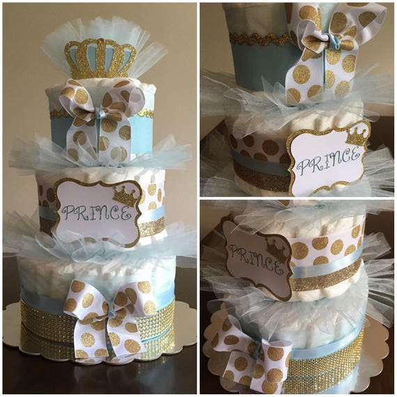 Royal Prince Diaper Cake Blue And Gold Diaper Cake Baby Boy