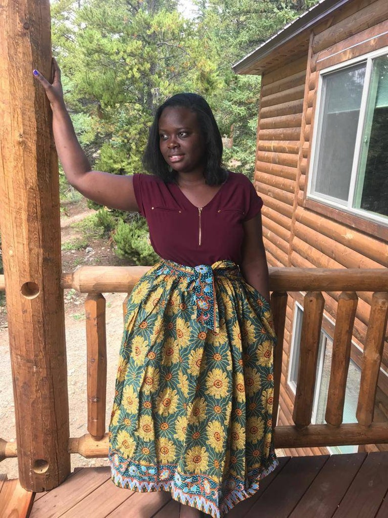 9c2f8b3f40 African Colourful Record Midi Skirt African Clothing African | Etsy