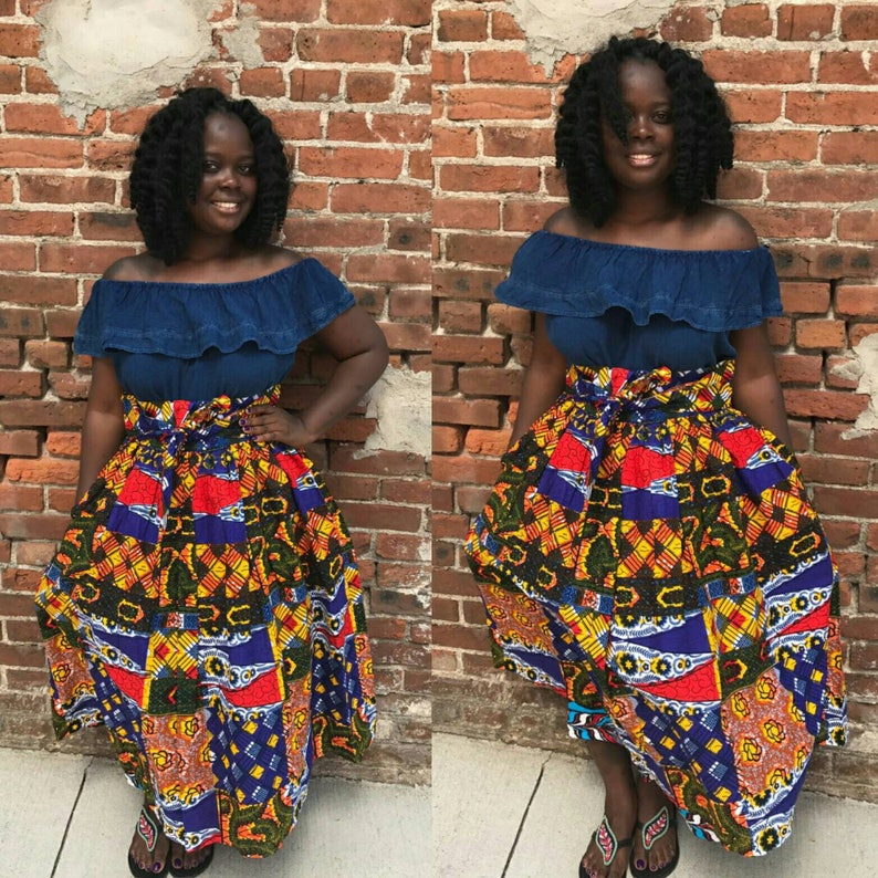 340b4b539e Patchwork Midi Skirt African Clothing African Skirt the | Etsy