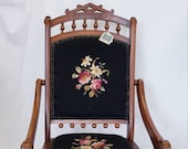 Antique Victorian Eastlake Needlepoint Folding Chair, 1890's