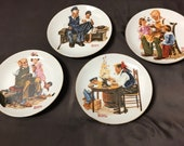 "1982 Set Of 4 ""Beloved Classics"" Plates By Norman Rockwell"