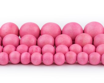 100 pieces -B3076 painted round 3mm hole 10mm Pink Wood   Beads