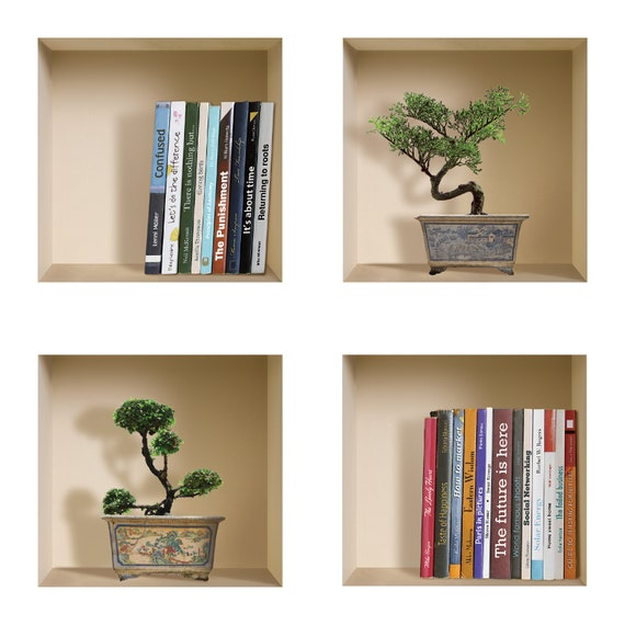 Book Shelf Photo Home Room Decor Removable Wall Stickers Decal Decoration