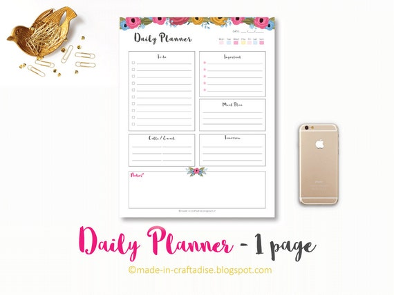 daily planner floral do checklist with categories pdf etsy