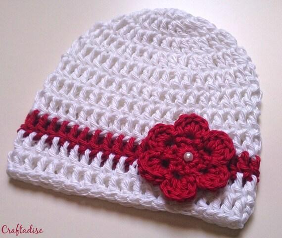 Weiß Rot Häkeln Baby Mütze Neugeborene Baby Mütze Kappe Etsy