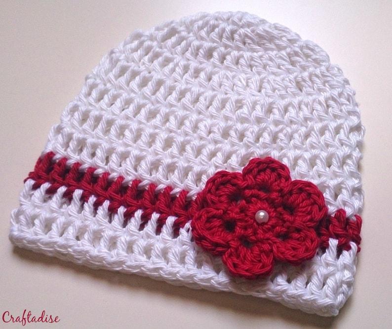 Bianco Rosso Uncinetto Bambino Berretto Cappello Neonato Etsy