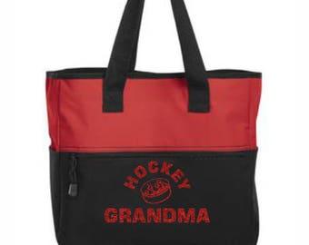 Glitter Hockey Grandma Tote Bag, Nana Nonna Women Valentine's Mother's Day Birthday Christmas Customized Gift Ideas Red Pink Green Blue Gold