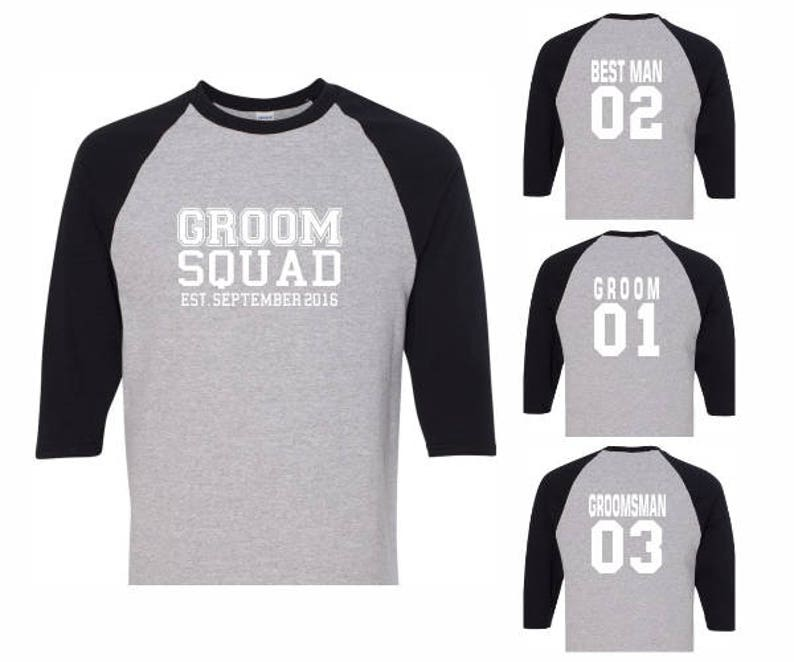 d8276c0a6aff0 Athletic Style Groom Squad Baseball Shirts,Mens Best Man Groomsman Wedding  Bachelor Groom's Party Personalized Customized Gift Idea T-Shirts