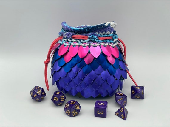 Dice Not Included Extra Large Royal Sunset Dice Bag for D/&D Scalemaille Holds 12-15  sets of Dungeons and Dragons or RPG Dice