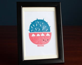 Cactus Bowl Lino Print - 2-colour hand printed lino cut print