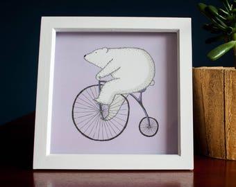 Polar Bear on Penny Farthing High-Quality Print - Bears Love Bikes #1
