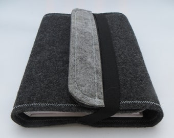 Felt book cover / book case, grey, useful when traveling