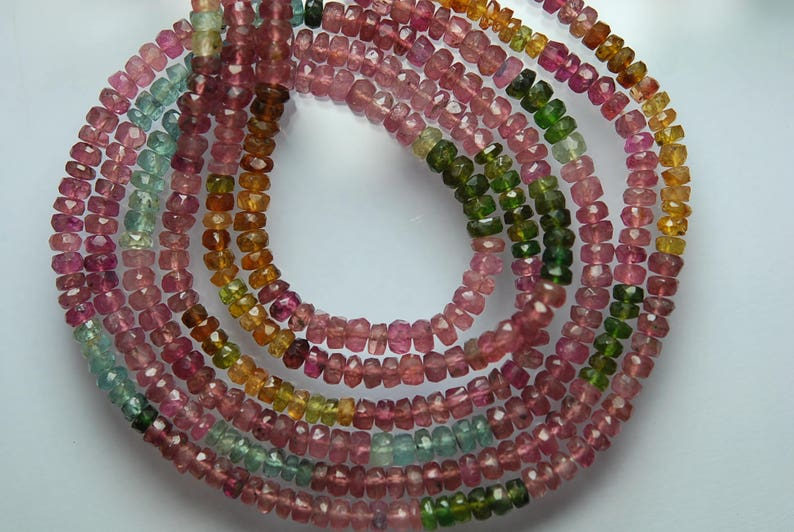 14.5 Inches Strand Multi Pink Tourmaline Faceted Rondelles Size Super Wholesale Price 4-4.5mm