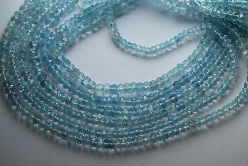Super Finest 14 Inches Aquamarine Faceted Rondelles Size 3.5-4mm
