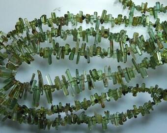 14 Inches, Green Tourmaline Stick Strand 5-15mm