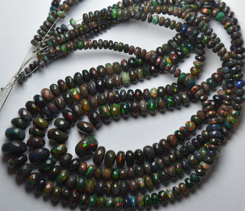 LARGE Size 10-4mm Full Fire Black Opal Faceted Rondelles 17 Inches Strand Super Finest