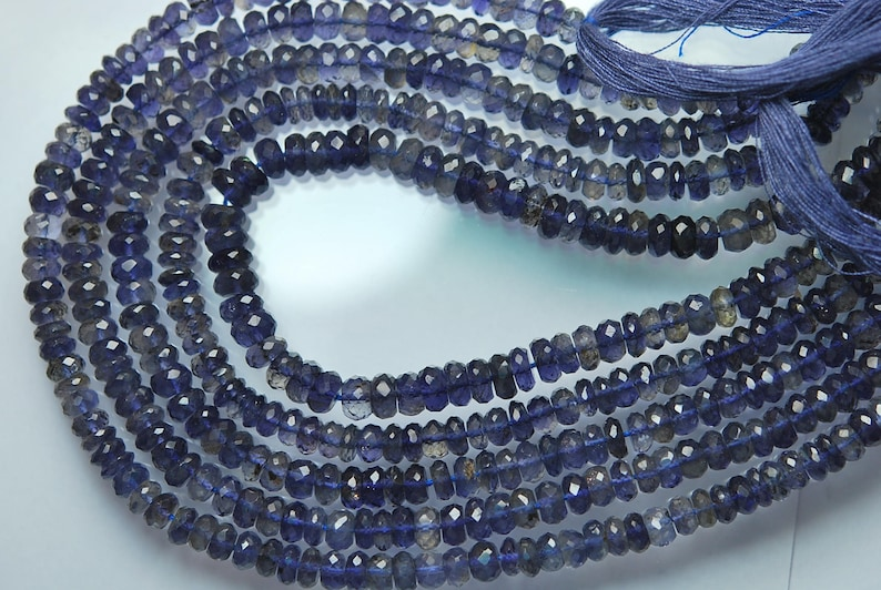 10.5 Inches Strand AAA Blue Iolite Faceted Rondelles Size 5mm