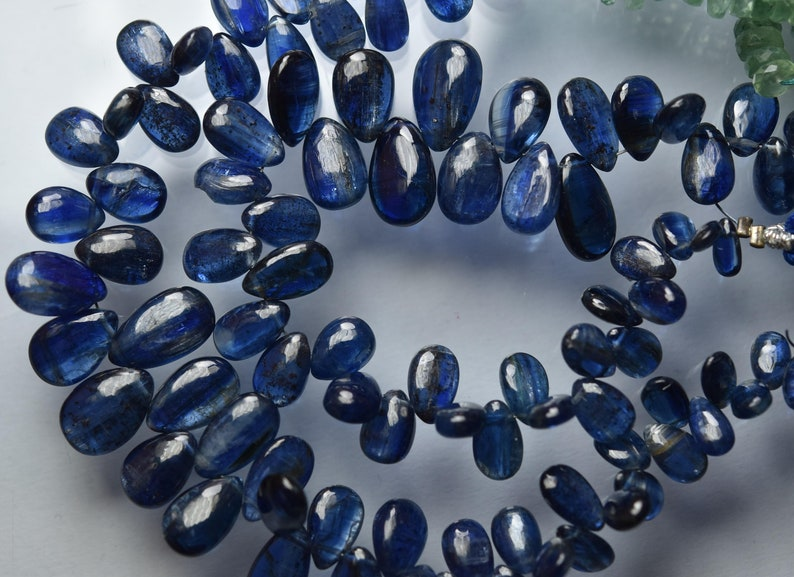 Natural Deep Blue Kyanite Smooth Pear Briolettes Size 11-8mm 7.5 Inches Strand